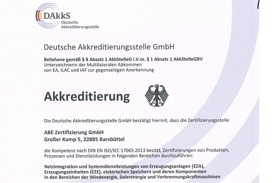 Neue VDE-Netzanschlussregeln: ABE Zertifizierung GmbH akkreditiert