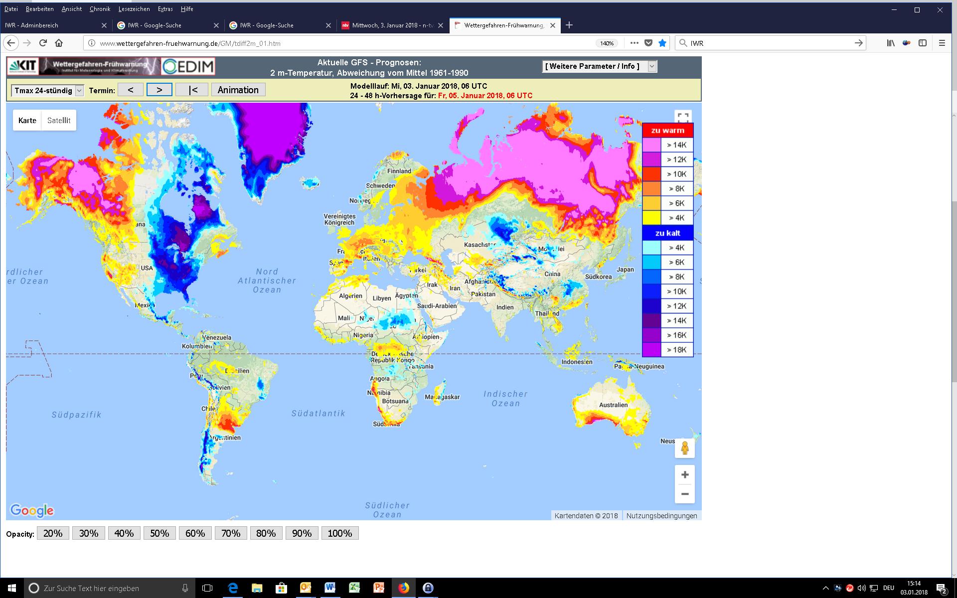 Globale Temperaturabweichung 05.01.2018